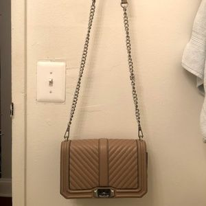 Chevron Quilted Love Crossbody - BROWN/TAN